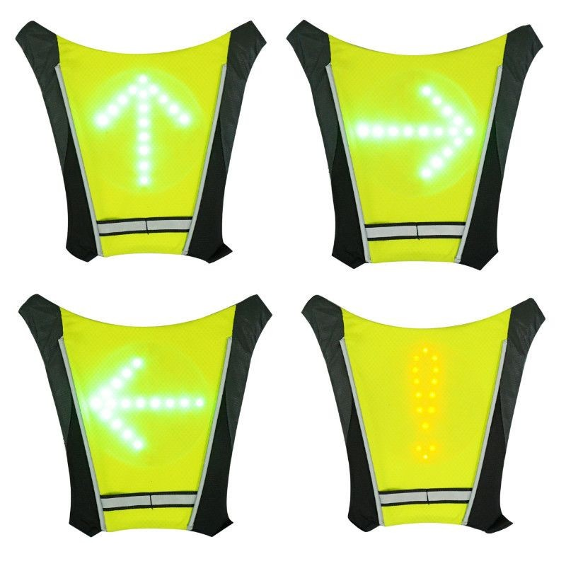 VESTE/GILET/BAUDRIER AVEC SIGNALISATION INTEGREE 48 LEDS AVEC INDICATEUR DIRECTION ET TELECOMMANDE SANS FIL